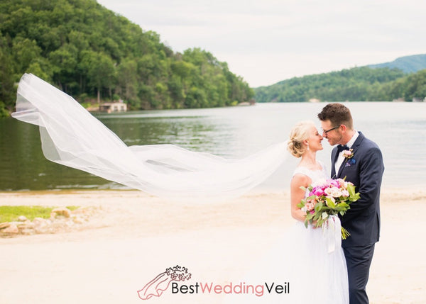 Soft Long Wedding Veil With Comb