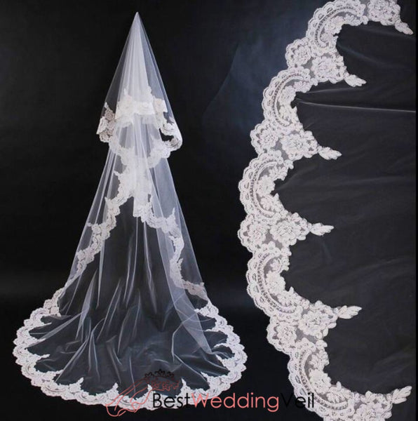 Mantilla Veil Wedding Cathedral Length Tulle With Appliqued Lace Edge