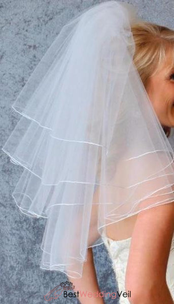 Four Layer Short Wedding Veil With Pencil Edge