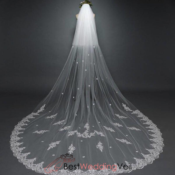 Wholesale Wedding Veils Lace Edge Double Tier Sheer Tulle Veil