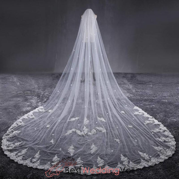Inexpensive Off White Cathedral Veils Wedding Lace Flowers Veil