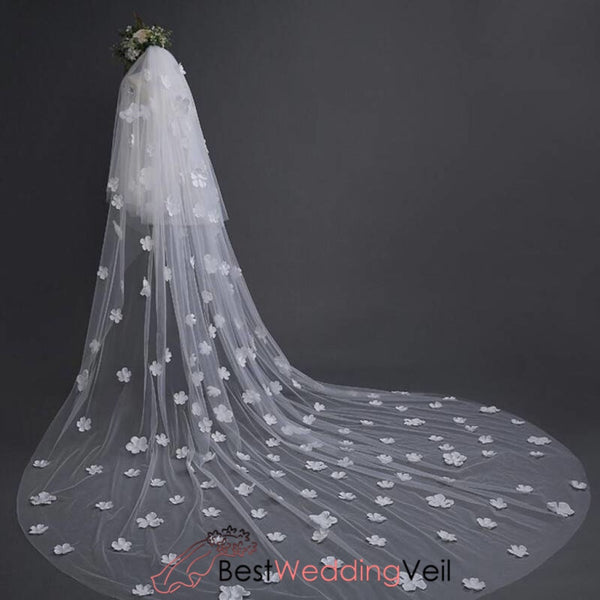 Handmade Flowers Cathedral Long Wedding Bride Veil Shop