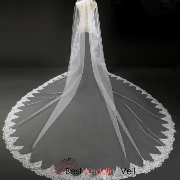 Mantilla Lace Trim Extreme Long Ivory Wedding Veils Veil