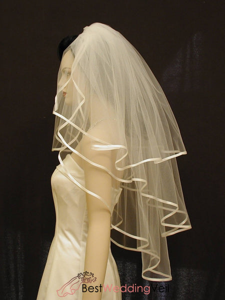 Three Tiers Classic Wedding Veil With 1/4 Satin Ribbon Edge