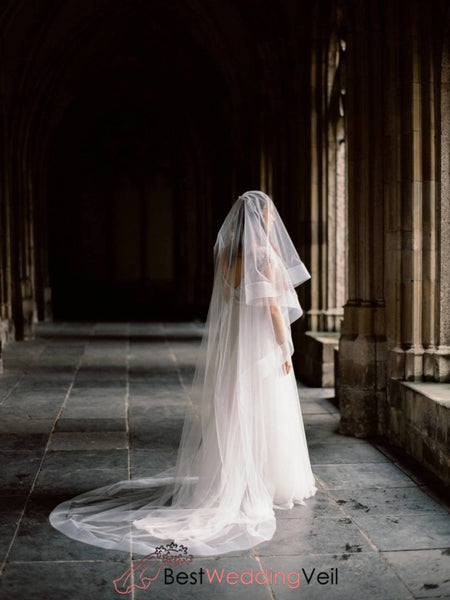 Circle Wedding Veil With Blusher Cathedral Length Drop Style