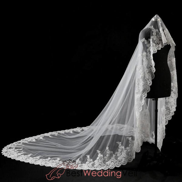 Buy Wedding Veils Cathedral Length Lace Applique Edge Veil