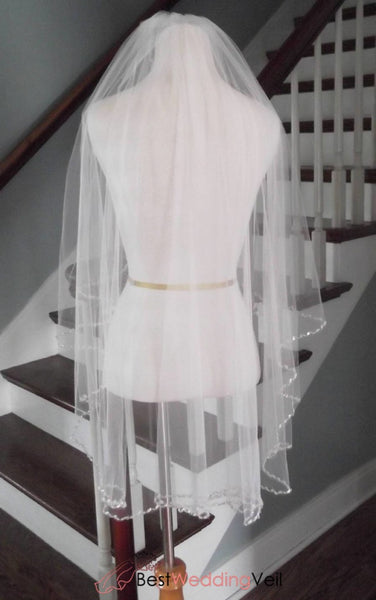 Angel Cut Beaded Crystal Edge Fingertip Length Wedding Veil