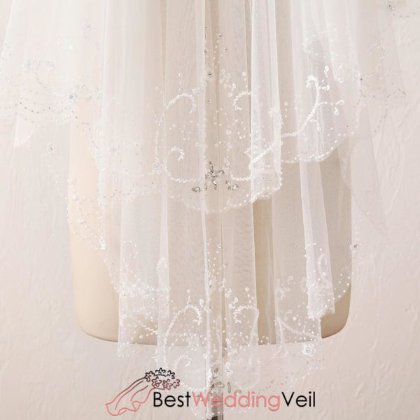 Embroidered Sewing Beads Wedding Veil Short