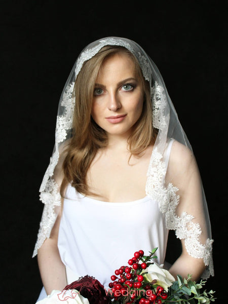 Single Tier Drop Veil For Wedding Elbow Length Cheap Laced Trimed Bridal Veils