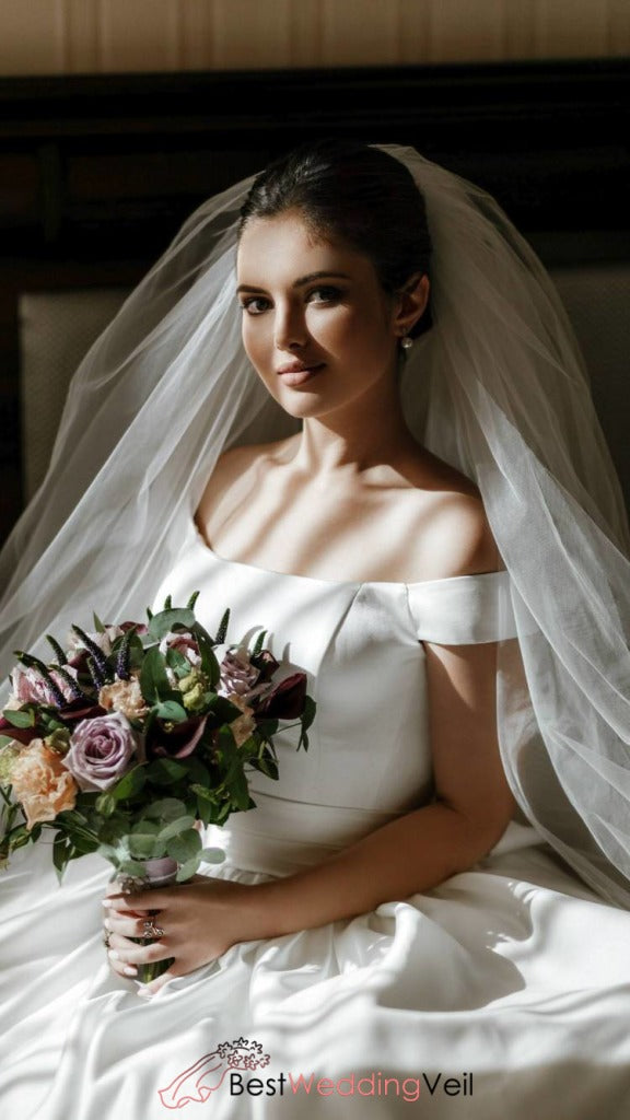 6e4d5a44b3bb ... Elegant Long Single Tier Tulle Simple Bride Veils With Comb Wedding  Veil ...