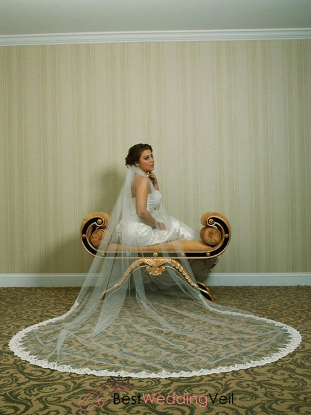Ivory Wedding Veil Cathedral Length With Beaded Alencon Lace At Bottom Edge