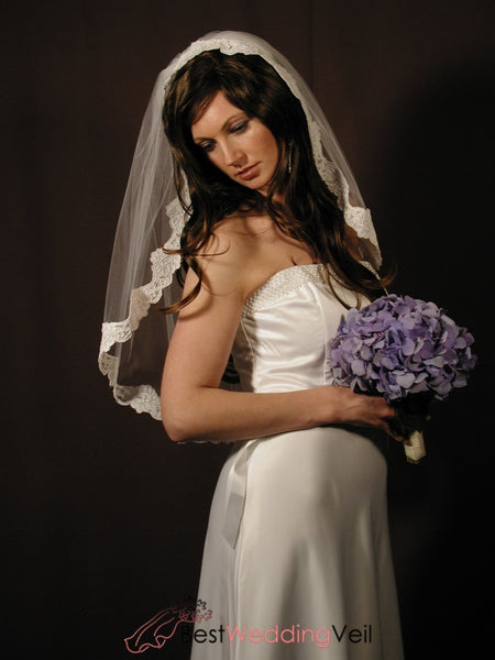 Perfect Ivory Bridal Veils Elbow Length With Alencon Lace Wedding Veil