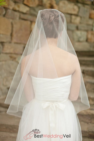 Circle Drop Style Elbow Length Wedding Veil With Blusher