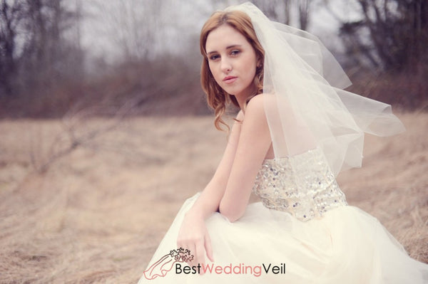 Diamond Cut Edge Waist Length Bride Veil Comb Wedding