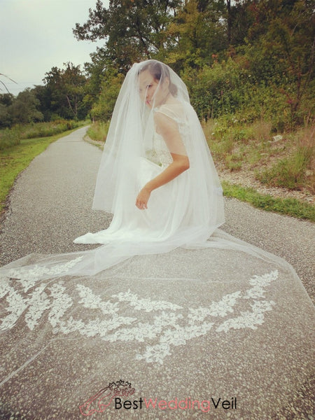 Cathedral Veil With Blusher Layer Embroidered Lace Flowers Veils Wedding