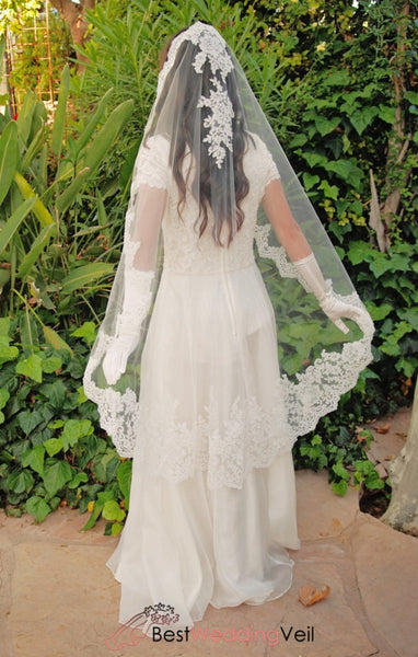 Spanish Style Alencon Lace Mantilla Wedding Veil Knee Length