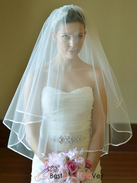 Fingertip Tulle Ribbon Edge Bride Veil With Comb Wedding