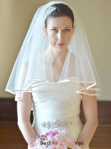 Satin Edge Wedding Veil Two Tier Tulle Blusher Ribbon