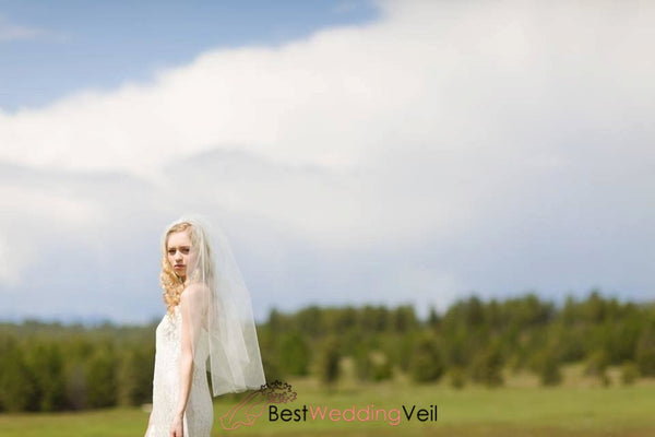 Mid-Hip Length Tulle Ivory Veil Wedding Cut Edge