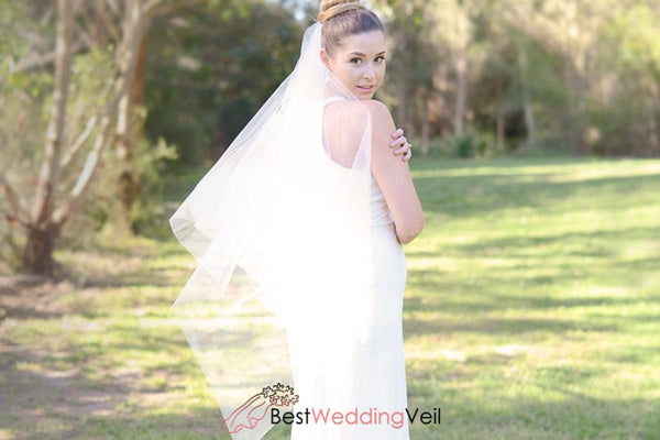 Fingertip Square Cut Raw Edge Tulle Ivory Wedding Veil