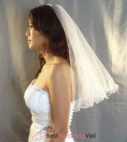 Curly Edge Tulle 2-Tier Circular Bridal Veil With Comb Wedding