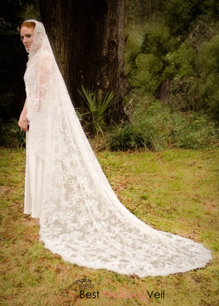 Full Of Chantilly Lace Cathedral Wedding Veil Styles