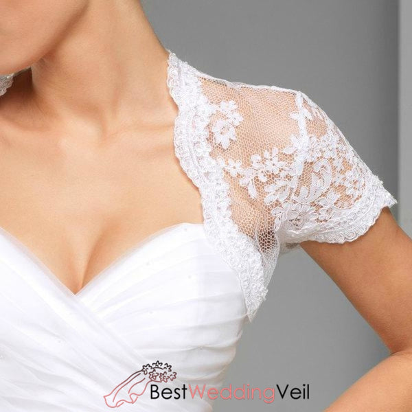 Alencon Lace Cap Sleeve Bridal Shrug Short Sleeves Wedding Boleros Jacket&bolero