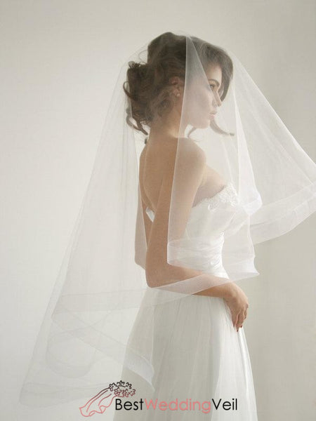 Ribbon Wedding Veil With Blusher Circle Drop Style