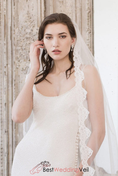 Traditionally Applique Lace Edge Long Veil For Wedding