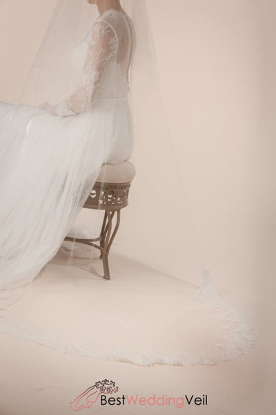 Wholesale French Lace Trim Ivory Wedding Veil With Blusher