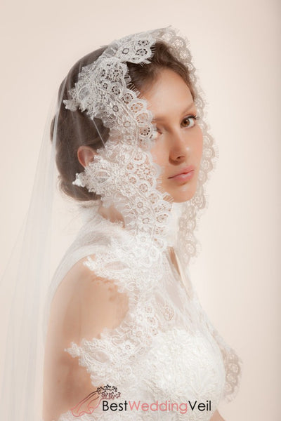 Mantilla Bridal Veil With Wide French Lace Trim Wedding