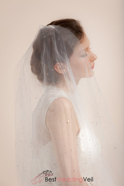 Scattered Stones Beaded Bridal Veil With Romantic Blusher Wedding