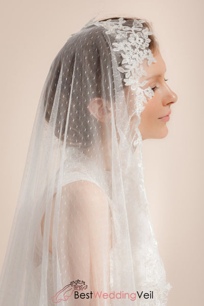 Ivory Dotted Wedding Veil Long Cathedral One Tier Lace Appliqued Edge