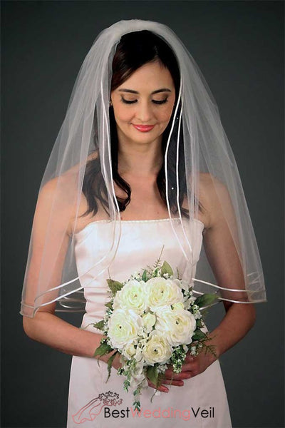 Double Satin Cord Edge Tulle Elbow Length Bridal Veil Wedding