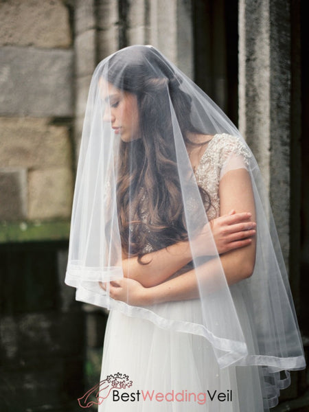 Organza Ribbon Bridal Veil With Blusher Fingertip Circle Style Wedding