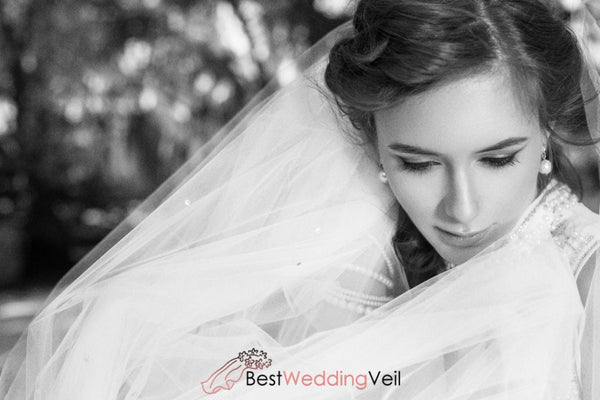 Cut Edge One Tier Beads Cathedral Length Wedding Veil
