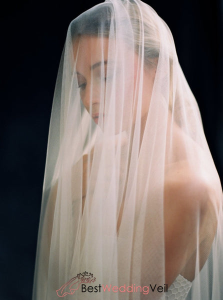 Fingertip Drop Style Fine Tulle Simple Wedding Veil