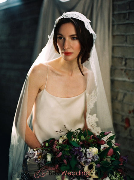 Floor Length French Lace Mantilla Style Veil Wedding
