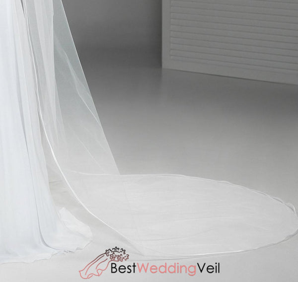 Satin Ribbon Edge Long Tulle Bridal Veil With Comb Wedding
