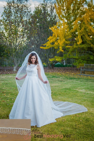 Romantic White Tulle Cathedral Veil With Pearl Beaded Edge Wedding