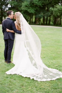 lace-appliqued-trim-cathedral-bridal-veil-wedding