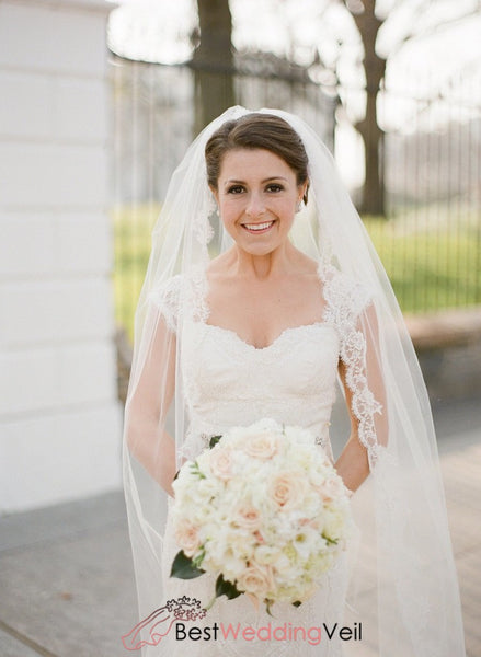 Appliqued Lace Trim Cathedral Wedding Veil With Blusher