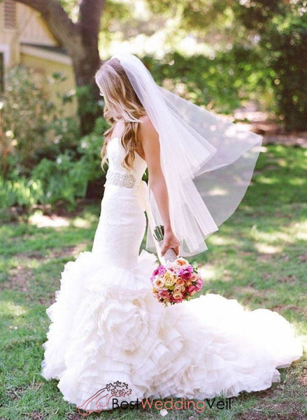 Pretty Cut Edge Wedding Dress Veil Fingertip Length