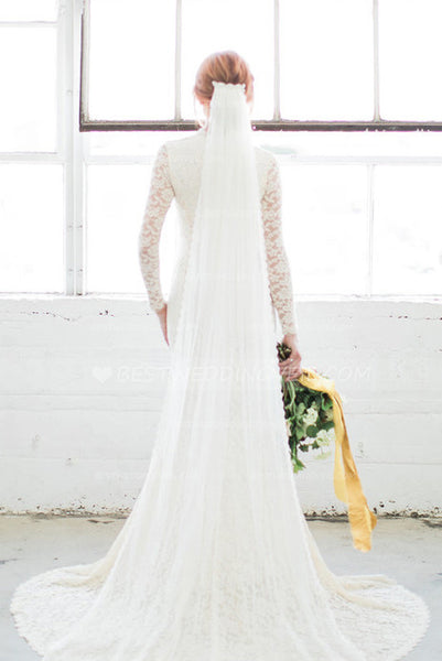 narrow-lace-trim-bridal-long-wedding-veil-with-comb