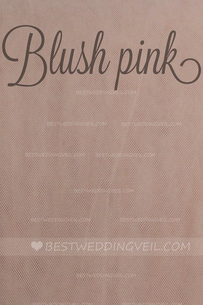 One Layer Tulle Blush Pink Wedding Veil with Comb