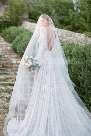 one-layer-tulle-long-outside-wedding-veil-without-comb