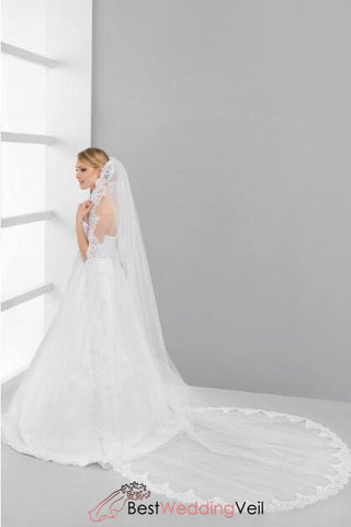 one-tier-tulle-cathedral-bride-wedding-veils-appliqued-lace-edged