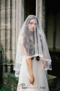 organza-ribbon-bridal-veil-with-blusher-fingertip-circle-style