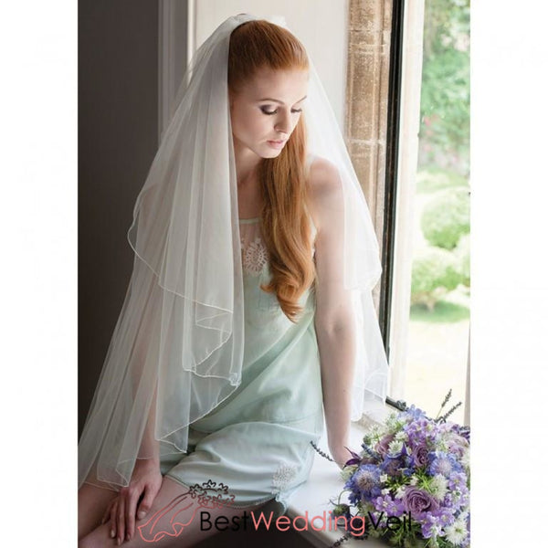 Cascade Two Layers Tulle Fingertip Bridal Veil With Comb Wedding