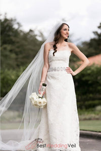 popular-simple-plain-long-veil-wedding-cathedral-length
